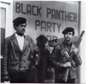 Black Panther Party armed guards in street Colt 45 and a shotgun
