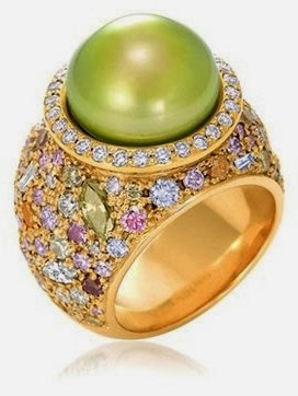 Pistachio Pearl Ring , White Diamonds And  Yellow