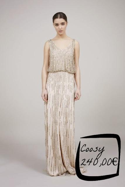 vestido boda noche civil novia aplicaciones largo escote en v Coosy invitada evento
