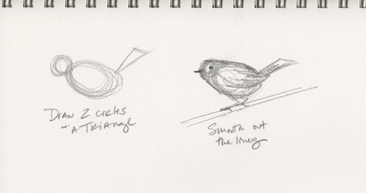 Easy way to draw a bird by Kelly Riccetti