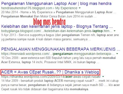 Screenshoot Pengalaman Menggunakan Laptop Acer - Blog Mas Hendra