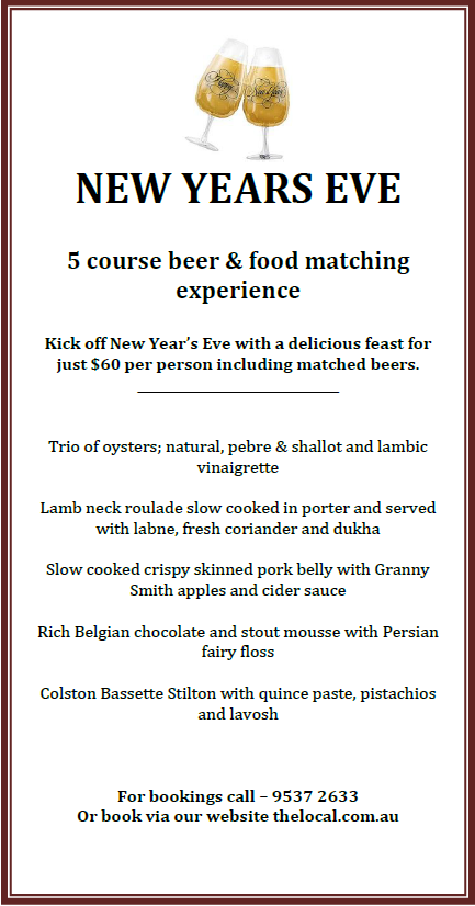 The local taphouse blog new years eve 5 course beer for What to make for new years eve dinner