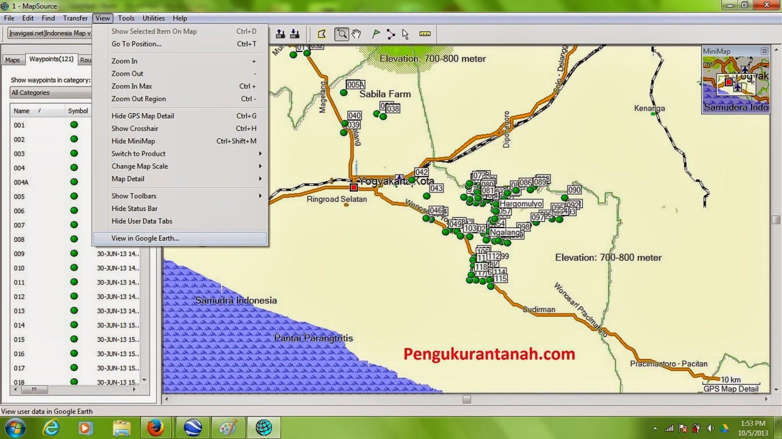 mapsource Cara Mengambil foto digital dari google Earth