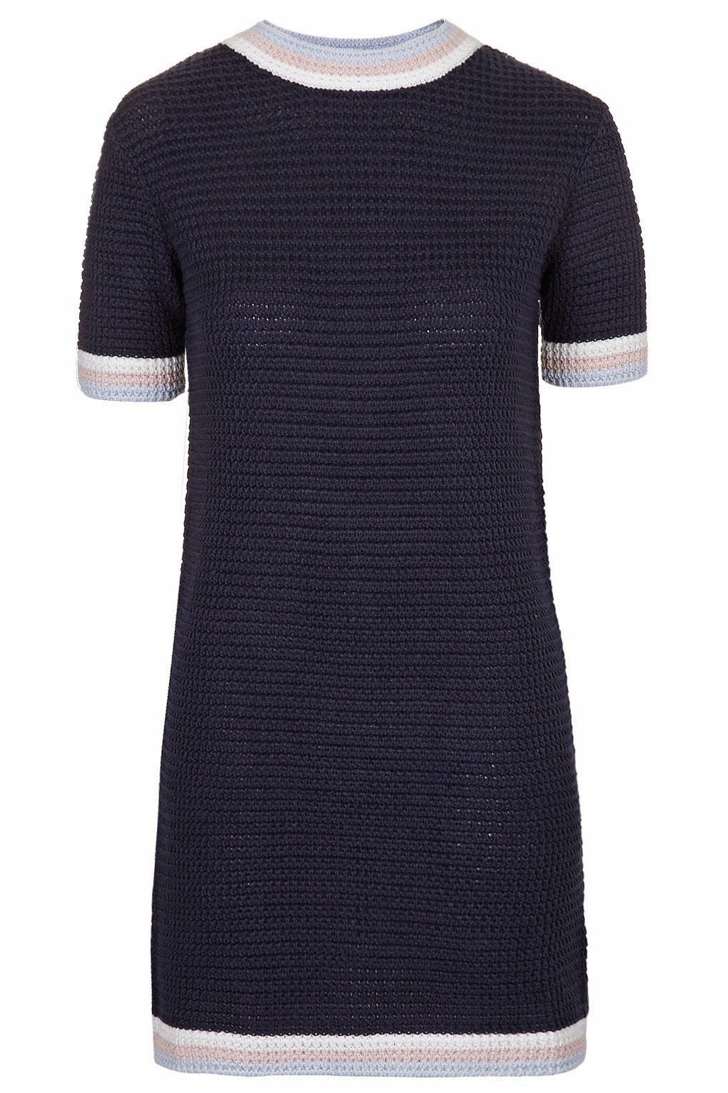 navy crochet dress,