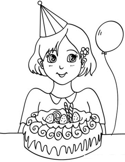 girl birthday coloring pages for kids disney coloring pages - Birthday Coloring Pages Girls