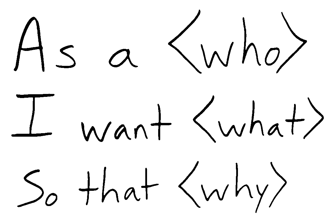 As a <who> I want <what> So that <why>