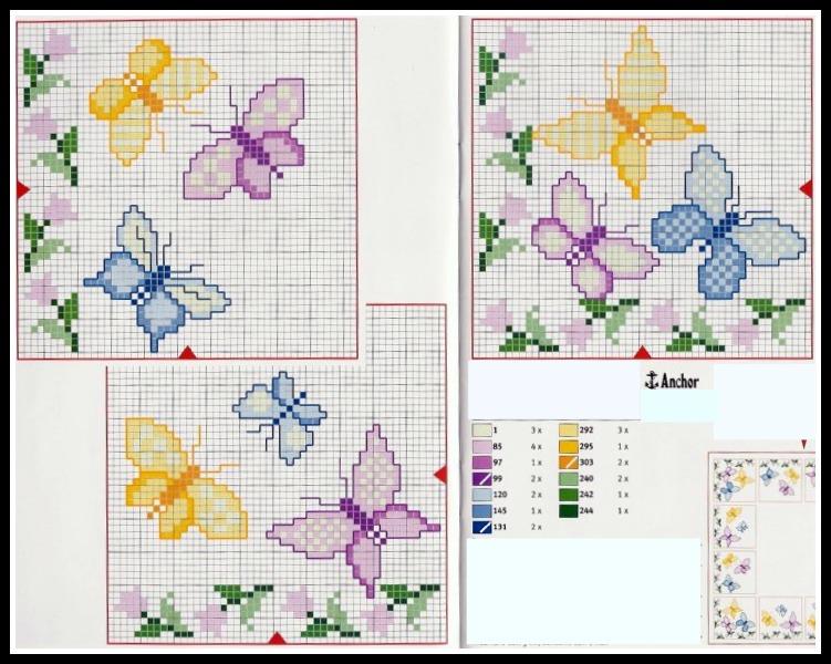 schemi punto croce tante farfalline punto croce