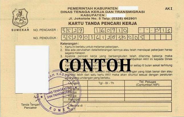 Syarat Pembuatan Kartu Kuning (AK1) Disnakertrans Kota Bandung