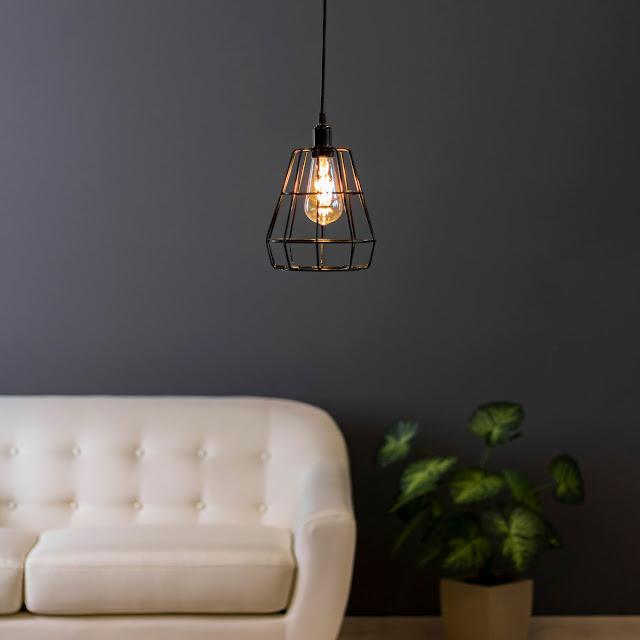 Luminária pendente decorativa aramada Prisma pequeno