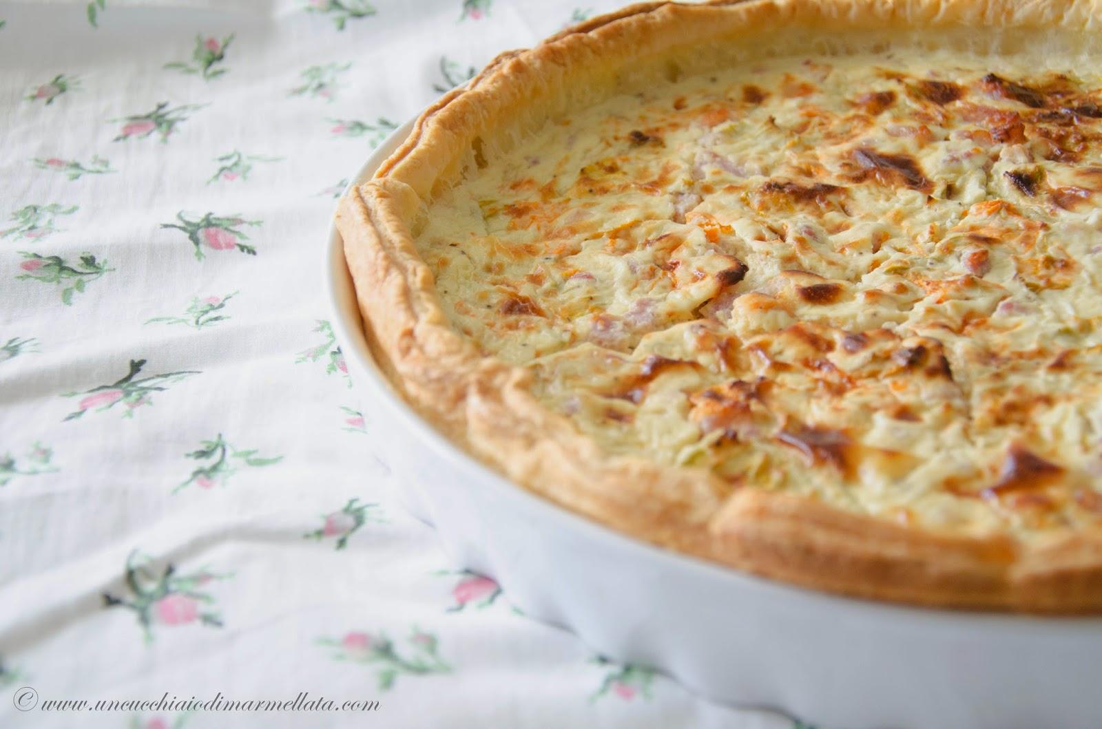 torta salata pancetta e fiori di zucca