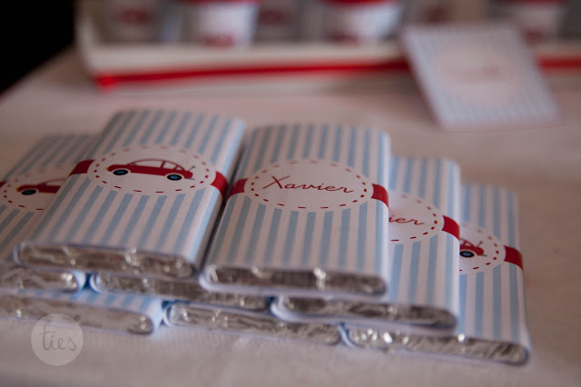 Little Red Car Party personalised chocolates from BistrotChic