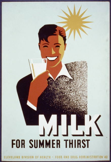 wpa, federal art project, food, food and drug administration, vintage, vintage posters, retro prints, classic posters, free download, graphic design, Milk for Summer Thirst - Vintage Food Poster