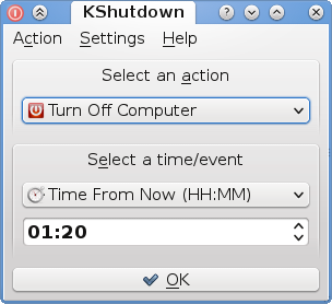 Kshutdown, an application to shut down and hibernate the machine at specific time