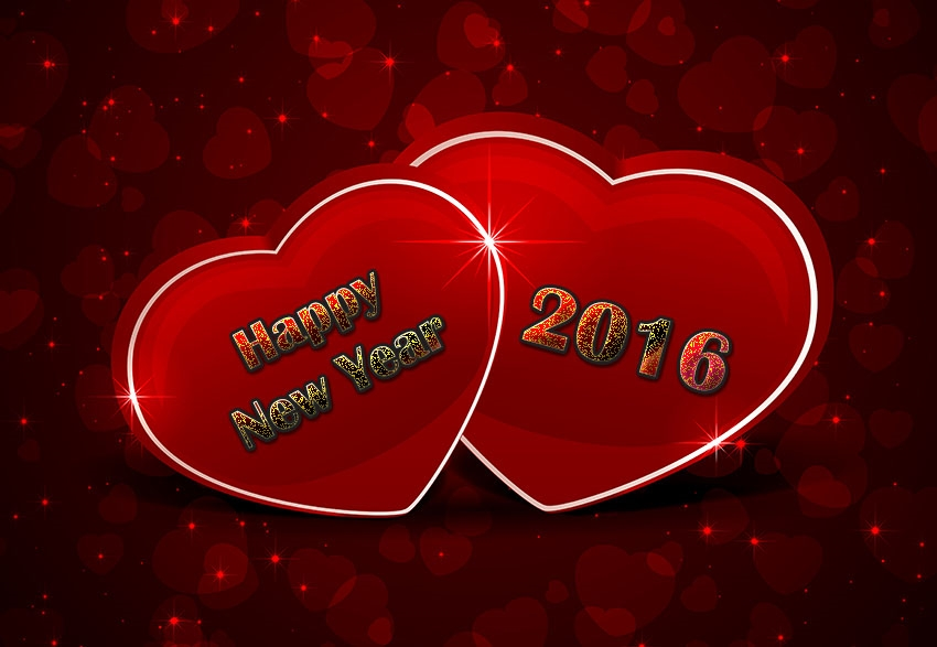 Lovely Heart Shaped New Year Greetings Image
