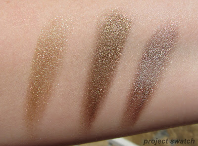 Bold Gold, Gold Shimmer, Bad to the Bronze - swatches - comparison