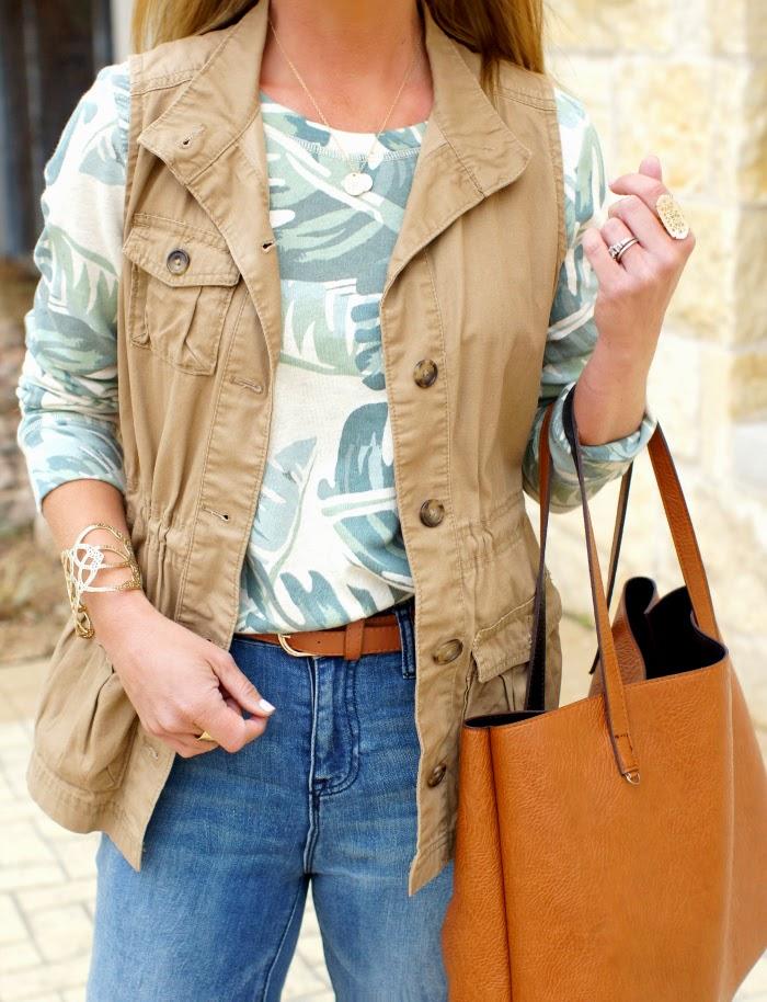Tan utility vest