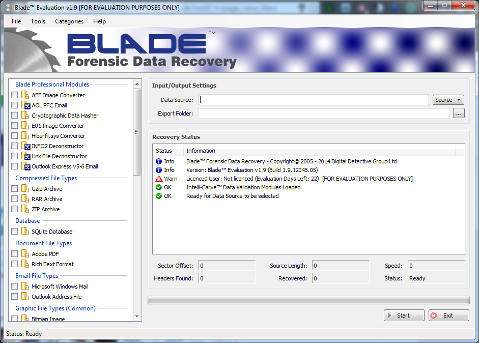 blade foreensics recovery start screen