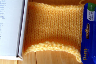 yellow Tunisian Knit Stitch square partially done