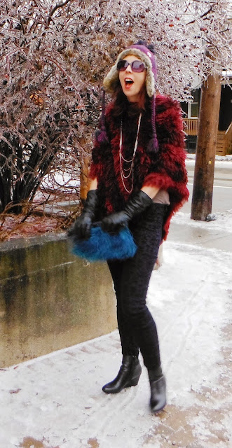 Fun Winter Style! Poncho from Winners, Velvet Denim from SmartSet, Wool Tuque, Boots from The Hudson's bay, Leather Gloves from Sears, Fashion Blogger Toronto Style Outfit The Purple Scarf by Melanie.Ps