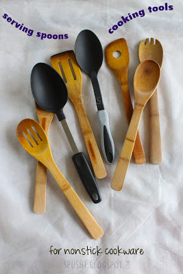 types of cooking tools and serving spoons for nonstick utensils