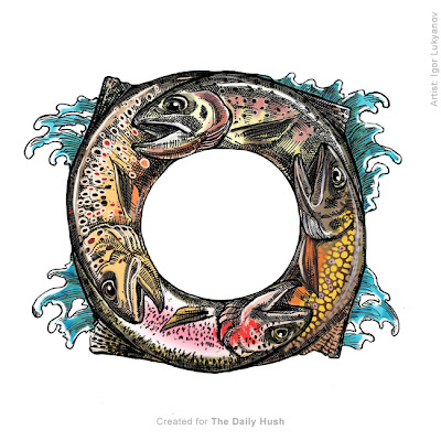fish color drawing, trout in circle