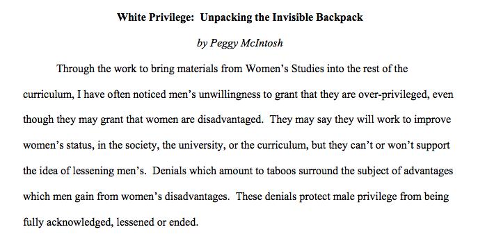 white privilege in politics essay
