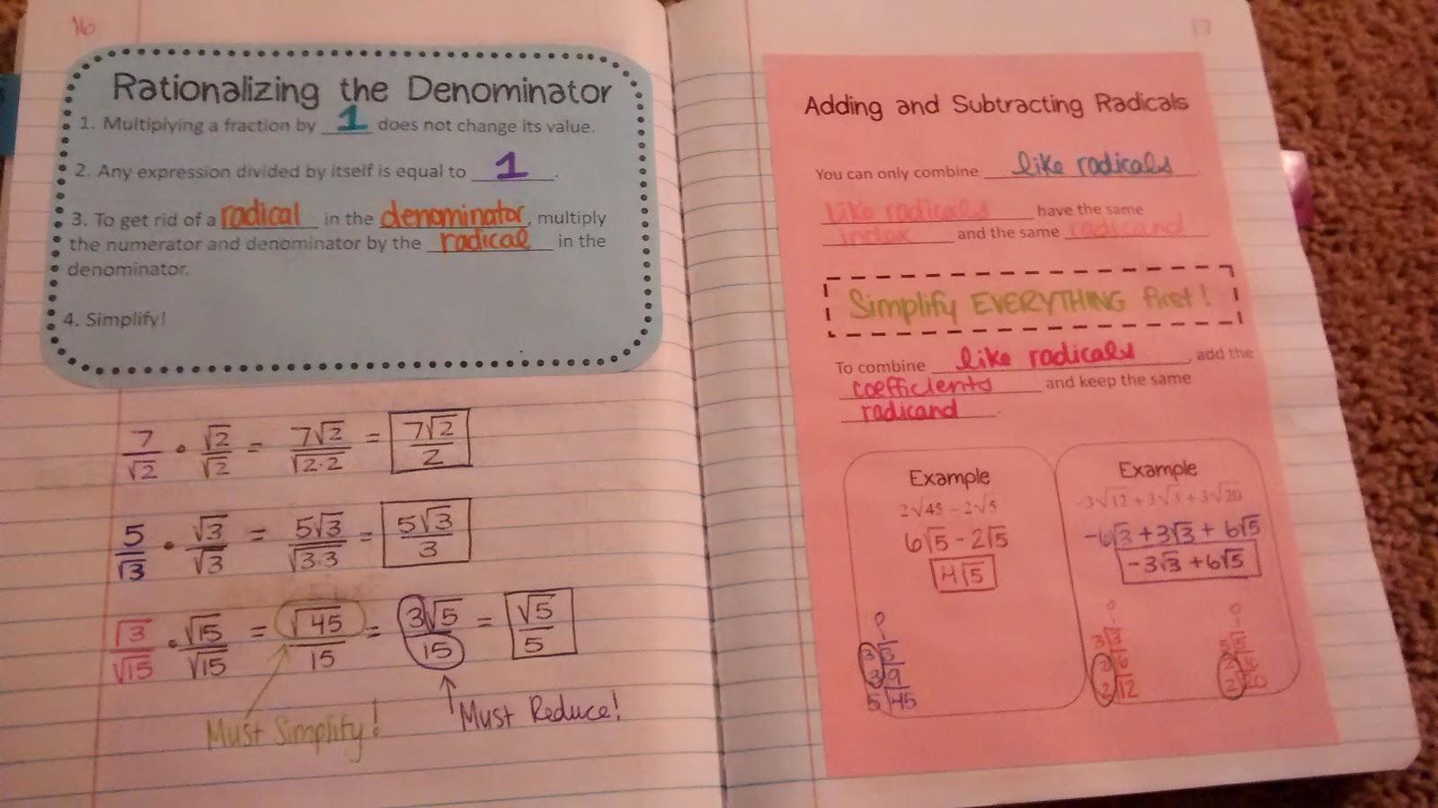 Math Love September 2014 – Adding Subtracting Multiplying and Dividing Radicals Worksheet