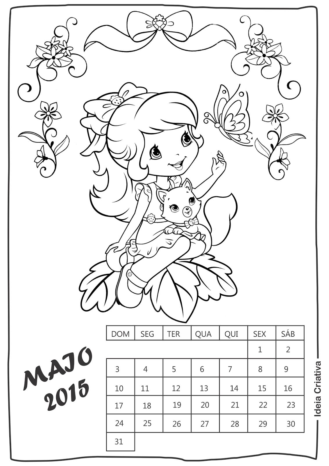 Calendário Maio Moranguinho para imprimir e colorir