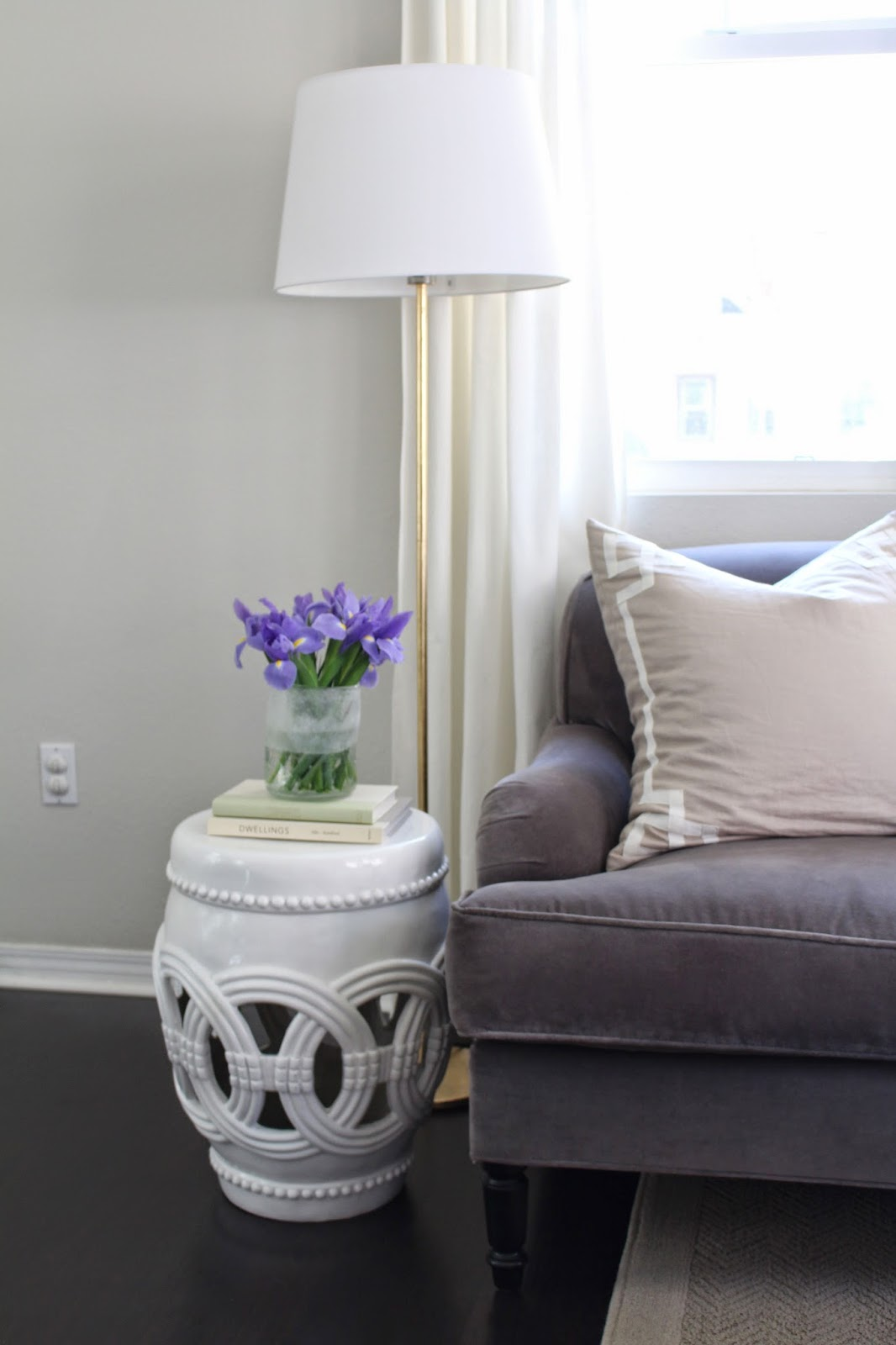 Dwell in beauty update diy how to gold leaf a lamp i normally keep this small garden stool in front of my gold leaf floor lamp and next to my sofa so we have an extra spot to put our drinks or place mozeypictures Gallery