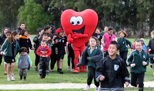 Hearty from Heart Foundation visited Riverslea Community Preschool and Riverslea School, Hastings, promoting exercise. photograph