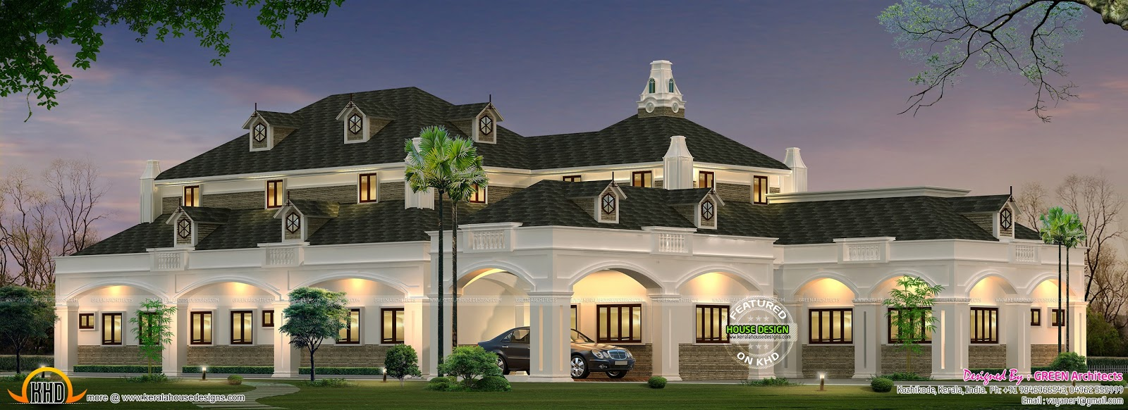 American Style Single Storied House Kerala Home Design