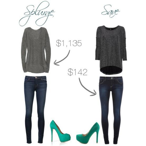 splurge, save, fashion, style, skinny jeans, pumps, fashion tips, save money, money saving tips, style tips,