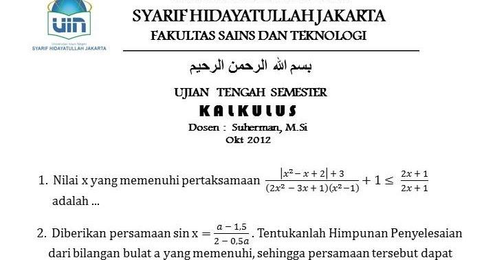 Uts Kalkulus 1 Okt 2012 1000 Soal Matematika Uan Snmptn
