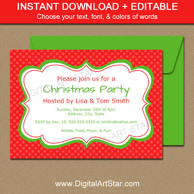 printable Christmas invitation template with editable text