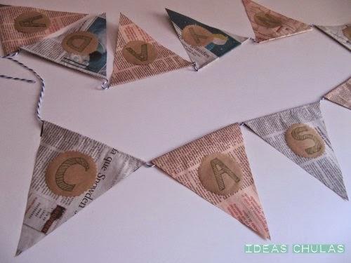 Guirnalda de papel de periódico para la Castanyada