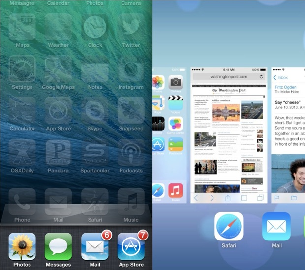iOS 7 VS. iOS 6 Multitasking UI Comparison