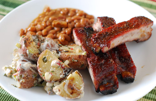 Ribs and potato salad
