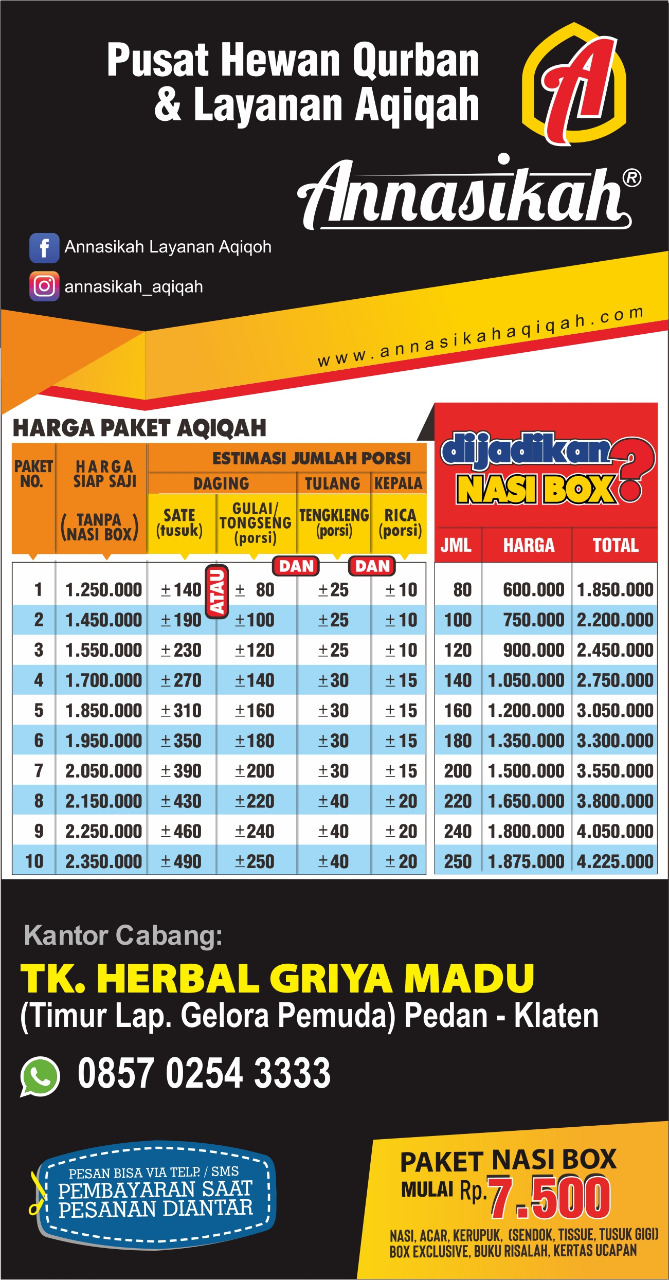 Tempat Jasa Aqiqah  Di Solo Raya Dengan Harga Murah Bisa WA : 0857.0254.3333