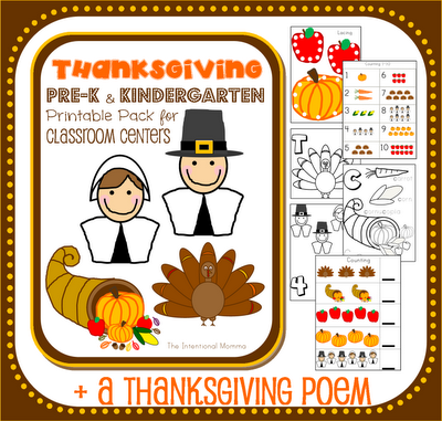 pilgrims turkey cornucopia apples pumpkin math centers literacy language poem worksheets counting teachers classroom homeschooling workbook theme