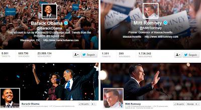 Cuentas Twitter y Facebook de Obama y Rommey