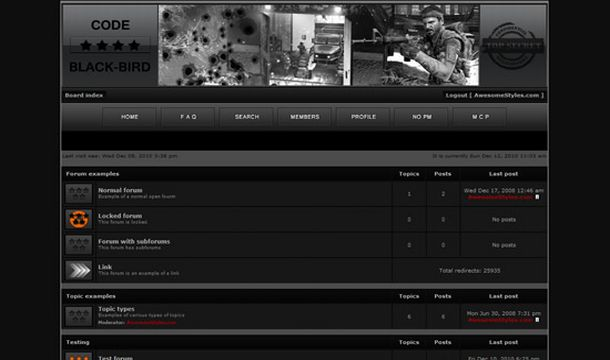 Phpbb Games Black Style Theme Template