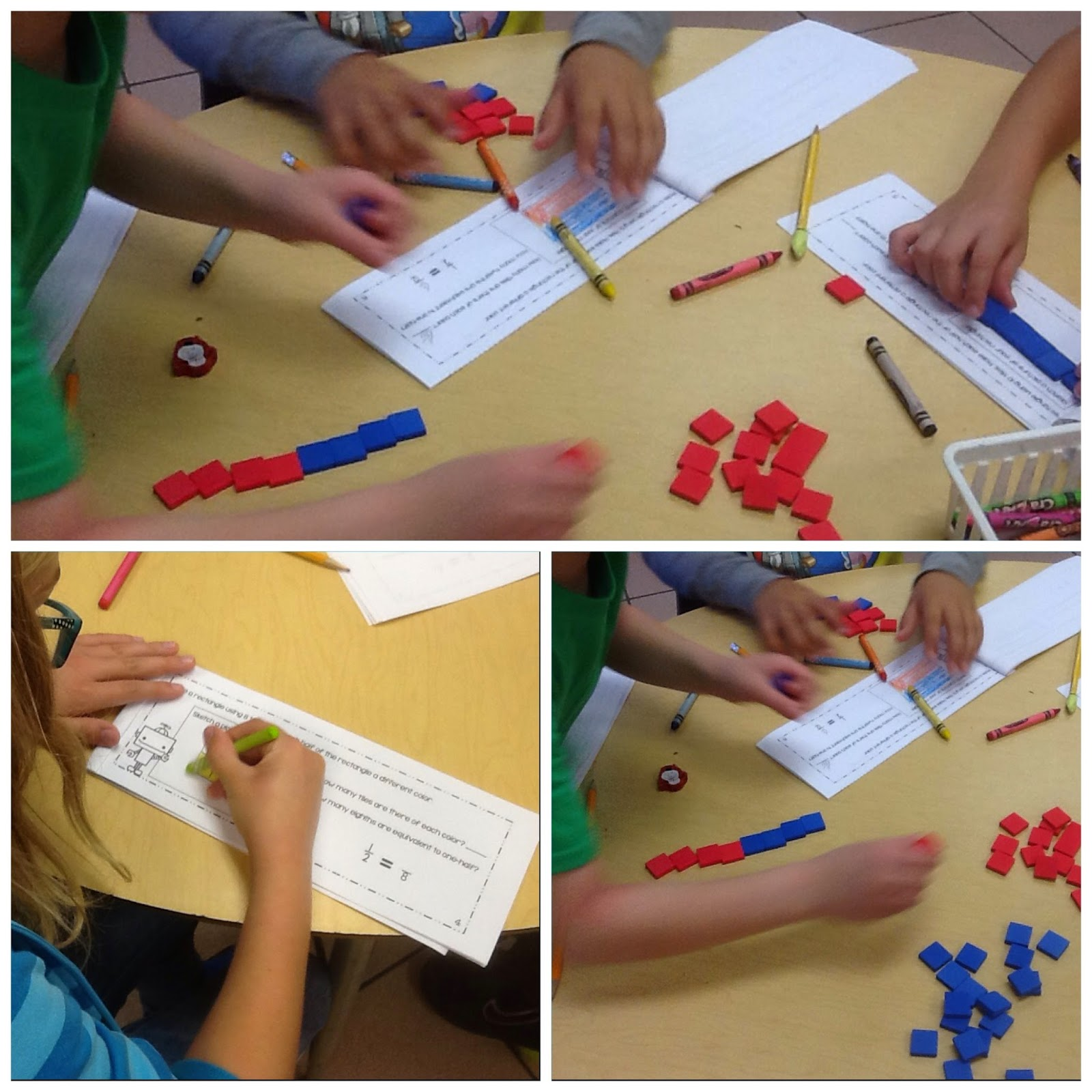 Students Working on Equivalent Fraction Booklets