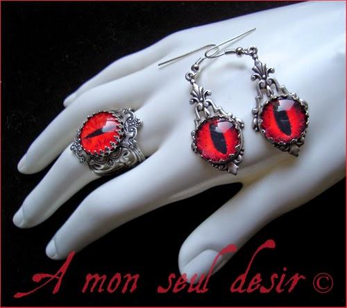 Bague Oeil Boucles d'Oreilles Yeux Bijouterie gothique anatomie Daredevil Mephisto Gothic Goth