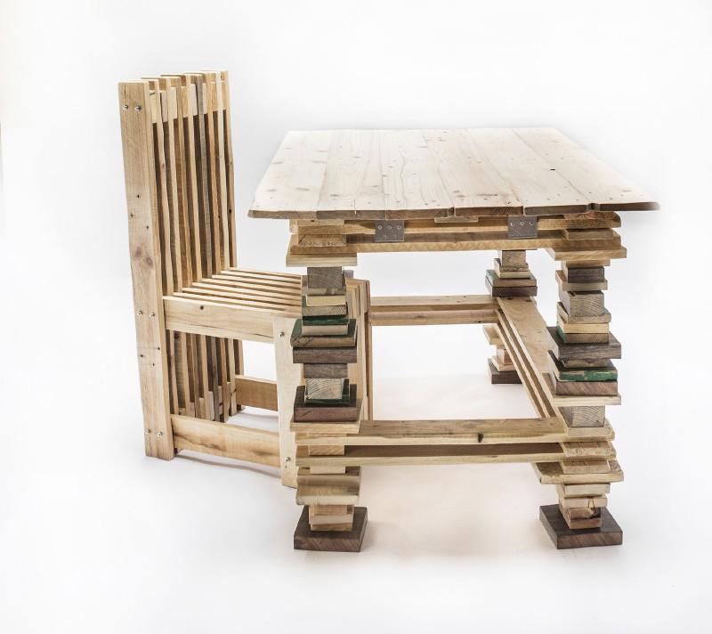 Escritorio y silla de dise o con palets for Muebles palets pdf
