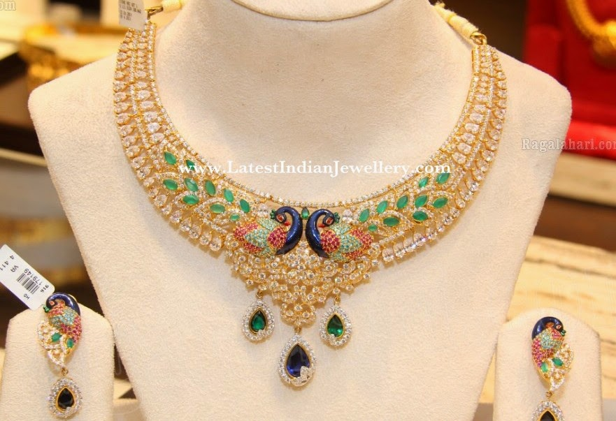 CZ Peacock Design Meenakari Gold Necklace