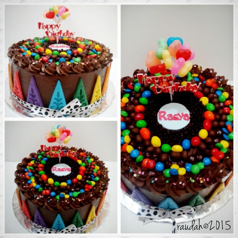 DAPUR CAKE DAN COOKIES COLORFULL CHOCOLATE BIRTHDAY CAKE FOR RASYA