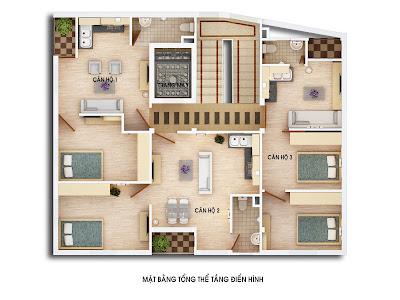 mặt bằng tầng điển hình căn hộ chung cư mini gia lâm hà nội