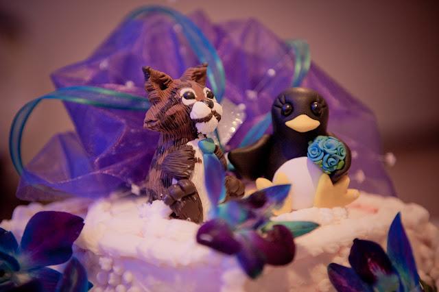 penguin cake topper, bobcat cake topper, custom wedding cake topper