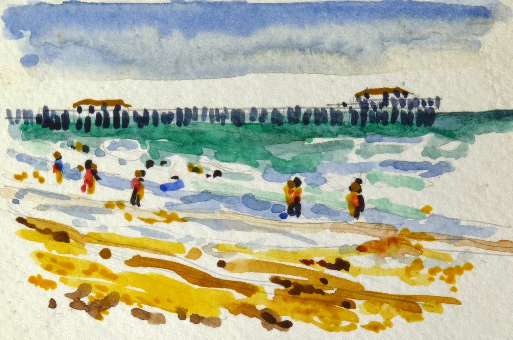 One Of A Number Watercolor Sketches I Did While On Recent Rr Trip With My Brother At Springmaid Beach Myrtle
