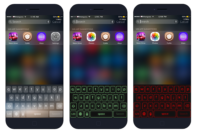 There are many amazing and innovative keyboard applications available in Cydia and App Store which lets you to customize iOS keyboard in a new look. But here's a new tweak available in Cydia called iKeys which gives you a full control to customize over iOS stock keyboard. That is this tweak directly replace the stock keyboard of your iOS devices